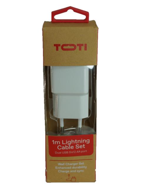 TOTI Dual USB sienas lādētājs Lightning, vads 1 m